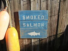 "16 INCH WOOD CEDAR HAND PAINTED ""SMOKED SALMON"" SIGN NAUTICAL MARITIME (#S299)"