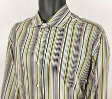 ETRO Milano Men's Button Front Dress Shirt Multi Striped 16.5 / 42 Made In Italy