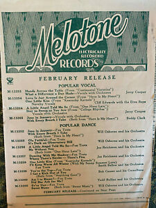 MELOTONE RECORDS  Feb 1935 catalog fold-out  IRISH, COUNTRY, JAZZ  78 rpm
