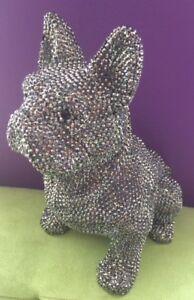 Crystal Rhinestone French BullDog Large Pop Art Sculpture Dog Figure NEW!