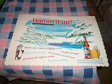 "Vintage Hamm's Beer Hamm it up!  Placemat Whats Reaso  10 x 15"" Edge Wear  Creas"
