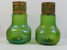 Antique Pair 1903 LOETZ Iridescent Green Glass Art Nouveau Vases w/ Ornate Bands
