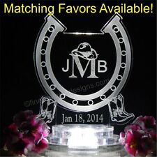 Western Horseshoe Monogram Lighted Wedding Cake Topper Acrylic Custom Favors LED