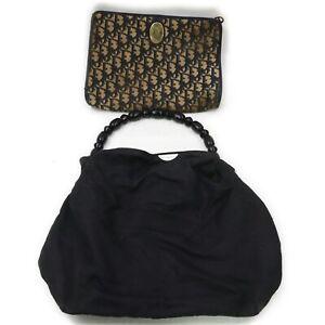 Christian Dior Nylon Canvas Hand Bag Clutch 2 pieces set 519488
