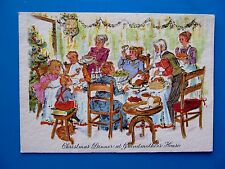 Vintage Christmas Card Glitter Family Eating Christmas Dinner at Grandma's House