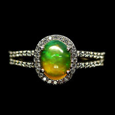 NATURAL MULTICOLOR OPAL & WHITE CZ RING 925 STERLING SILVER SIZE8.75