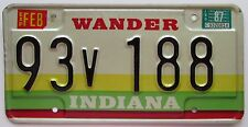 Indiana 1987 MARION COUNTY WANDER License Plate HIGH QUALITY # 93V 188