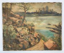 Vintage Landscape Oil Painting Hilltop View Of Ship Port Looking Toward City