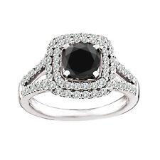1.1 Carat Black AAA Round Diamond Solitaire Double Halo Ring Set 14K White Gold