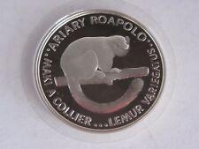 1988 MADAGASCAR Lemur 20 Ariary Silver Coin, Proof, COA