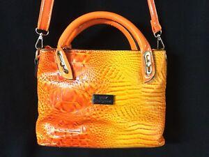 Orange Crocodile Embossed Bag