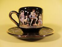 Dagounis Greek Demitasse Espresso Cup with Saucer Black 24K Gold Trim Greece EUC