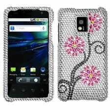 LG T-Mobile G2X Crystal Diamond Bling Hard Case Snap on Phone Cover Moon Flowers