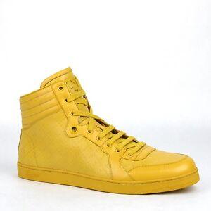 New Gucci Mens Diamante Leather High-top Sneaker w/Interlocking G Detail 355645