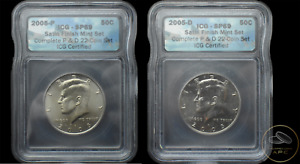 2005 P & D Kennedy Half Dollars Graded ICG SP69 Satin Finish Mint Two Coin Set