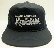 90'S Vintage Los Angeles Raiders Script Snapback Cap NFL Black Cord Hat New!