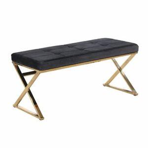 Black and Gold Velvet Bench