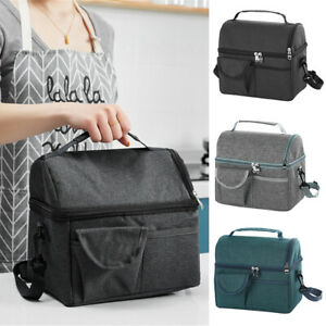 Insulated Lunch Bag Totes Cooler Large Bento Lunch Box for Adult Double Decker