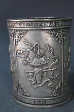 China Silver Eight Immortals God Crossing Sea statue Brush Pot Pencil Vase