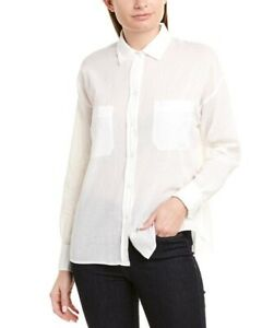 $245 NWT|Vince Textured Double Placket Blouse Button Down In Off White Size M