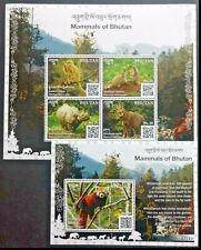 150.Bhutan 2019 Stamp S/S + M/S Mammals Of Bhutan , Rhino, Monkey, Panda .Mnh