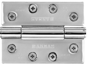 Banham front door - three knuckle butt hinge - polished chrome x3