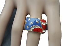 Usa United States Of America Flag 4th Women Gold Ring Fashion Metal Elastic Band