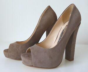 WAYNE COOPER Women's Shoes Size 36  NWT  Suede Peep Toe Block Heel Pumps