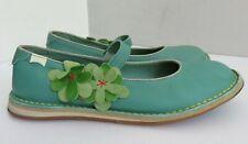 Camper Cuero Genuino Para Mujeres Verde Resbalón en Zapatos Planos Mary Jane 40 7 Excelente