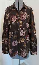 Chaps Chocolate Flower Print Blouse Shirt Long Sleeve Size Large