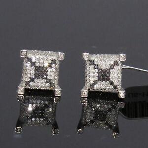 NYJEWEL New 10k Gold Unisex 2ct Black & White Diamond X Earrings