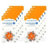 60 cells x everActive Hearing aid 13 Size batteries Zinc Air PR48 1.45V