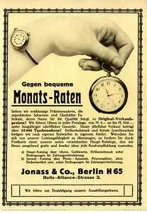 Präzisionsuhren u.a. Jonass Ratenkauf Marken-Hersteller-Werbung Offerte von 1913