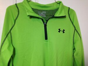 Under Armour Mens Cold Gear Half Zip  Running Shirt Size M Neon Green