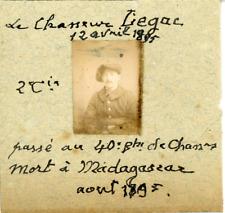 France, Militaire, Portrait du chasseur Liegac de la 2e compagnie, 1895 vintage