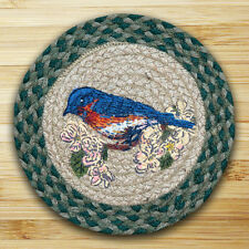 "BLUE BIRD 100% Natural Braided Jute Swatch, 10"" Trivet/Placemat, by Earth Rugs"