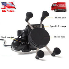 "3.5-6"" Motorcycle Handlebar Cellphone Mount Cell Phone Holder GPS +USB Charger"