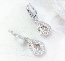 NEW Avon Silver Tone Crystal Teardrop Leverback Earrings Drop Dangle Rhinestone