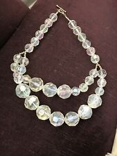 Aurora borealis coated large faceted chunky beads glamorous necklace