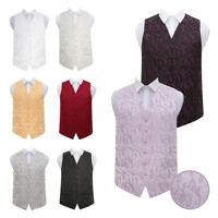 DQT Men's Waistcoat High Quality Passion Floral Tuxedo Wedding Groom Vest