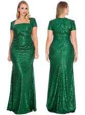 Goddiva Emerald Sequin Square Neck Evening Maxi Dress Bridesmaid Prom Party Ball UK 26