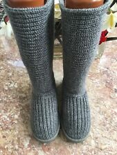 UGG Australia Women Gray Classic Cardy 5819 Shearling Button Sweater Sz 5 Boots