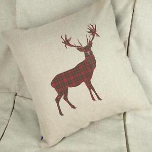 Tartan Stag - Christmas Cushion Cover Home Decor Gift - Xmas Deer Reindeer