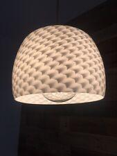 Impresionante cundió Op Art Blanco Pantalla de Lámpara Colgante De Techo De Vidrio Retro años 60 años 70