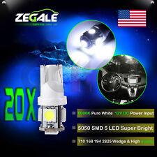 20X White 5050 5SMD T10 194 168 921 12V LED License Plate Light Bulbs For Ford