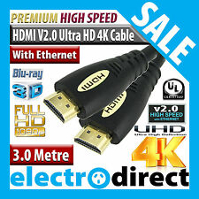 3.0M HDMI to HDMI Cable v2.0 Ultra HD 4K 3D Blue Ray High Speed with Ethernet
