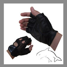 "REAL Leather -- ""Special offer""-- Mesh GYM Gloves weight cycling exercise #A033H"