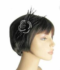Negro Sinamay Flor, deja el cabello Fascinator con clara Pedrería lleno de muelles Clip