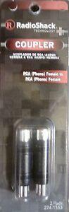 #274-1553 NEW! RADIO SHACK 2 Pack Phono RCA Coupler Couplers