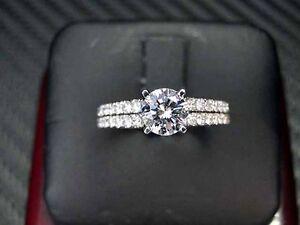BRIDAL DIAMOND ENGAGEMENT RING 18K WHITE GOLD ROUND BRILLIANT CUT 1.07CT GIA
